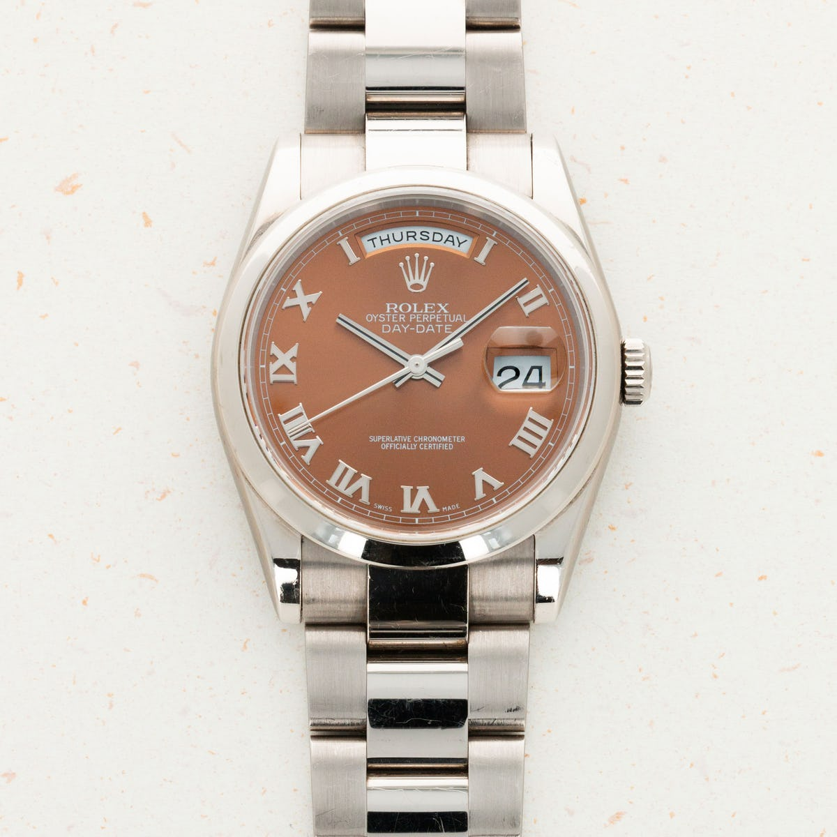 Thumbnail for Rolex White Gold Day-Date Havana Brown Dial 118209