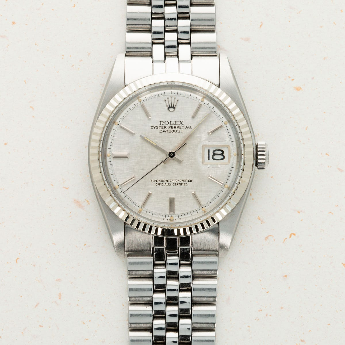 Thumbnail for Rolex Stainless Steel Datejust Linen Dial 1601