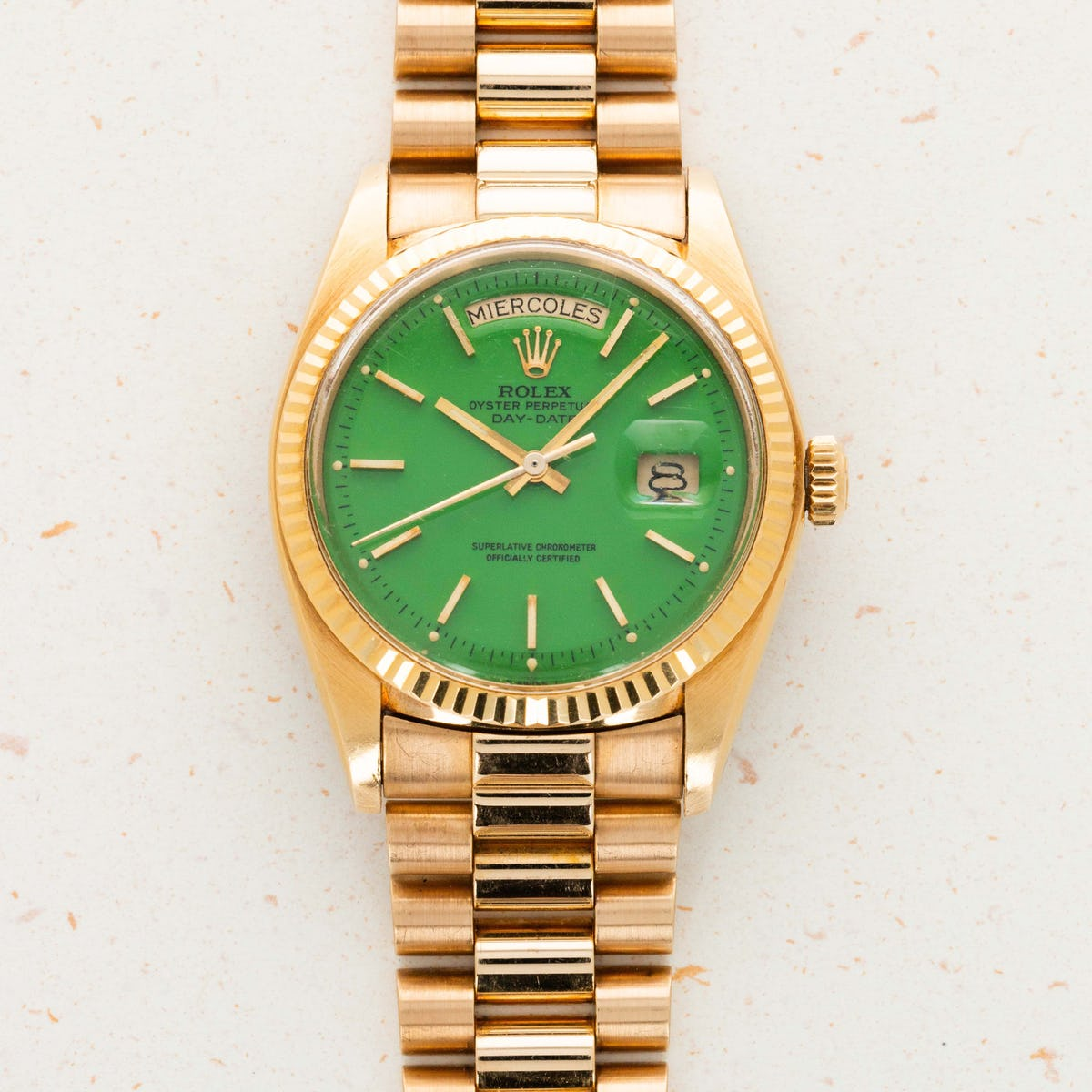 Thumbnail for Rolex Yellow Gold Day-Date Green Stella Dial Ref. 1803